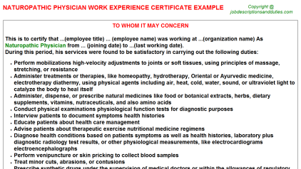 Naturopathic Physician Work Experience Letter