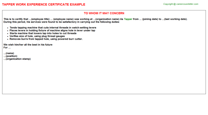 Tapper Experience Letter Template