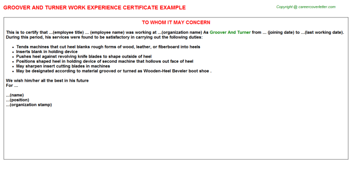 groover and turner experience letter template