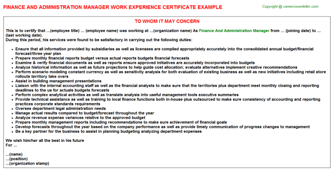 finance and administration manager experience letter template