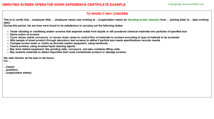 vibrating screen operator experience letter template