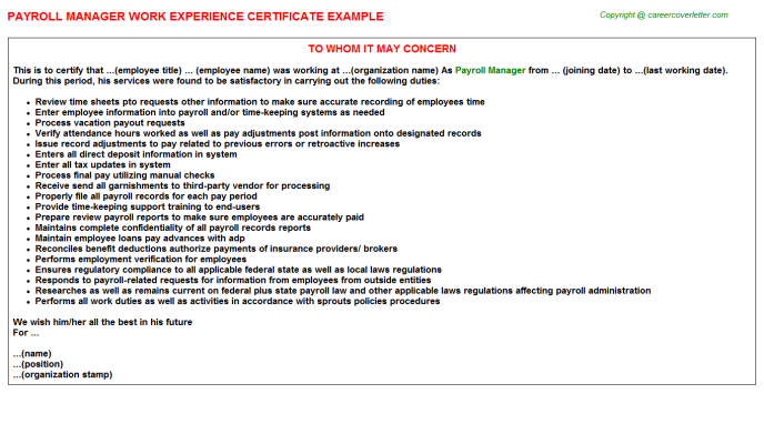 Payroll Manager Experience Letter Template