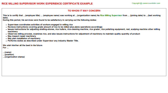 rice milling supervisor experience letter template