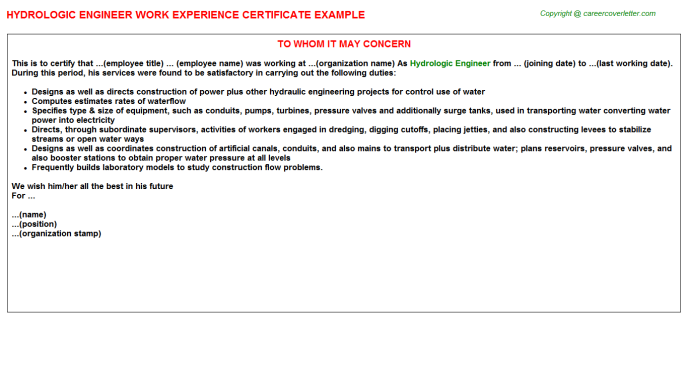 Hvac Mechanical Engineer Job Experience Letters