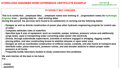 Hydrologic Engineer Work Experience Letter Template