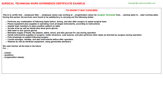 surgical technician certificate experience template letter sample