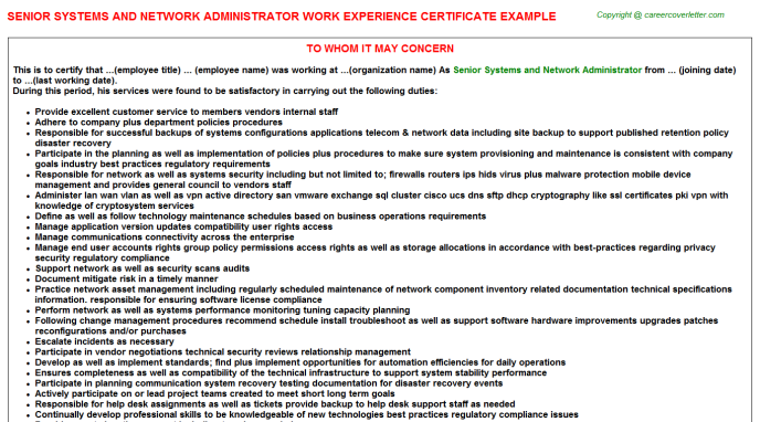 senior systems and network administrator experience letter template