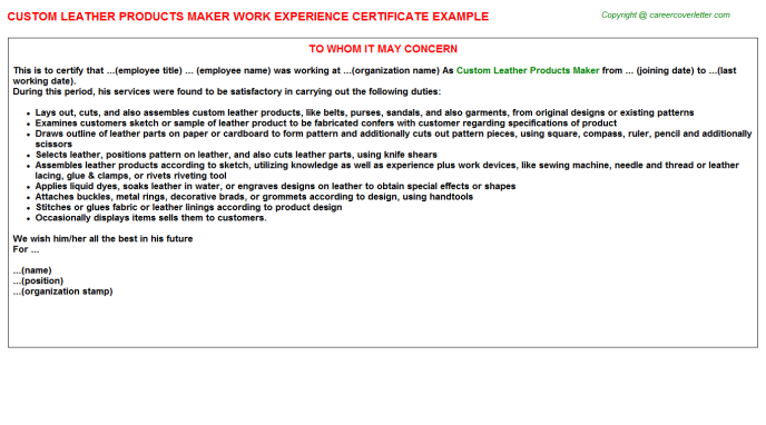Custom Leather Products Maker Work Experience Letter | Experience