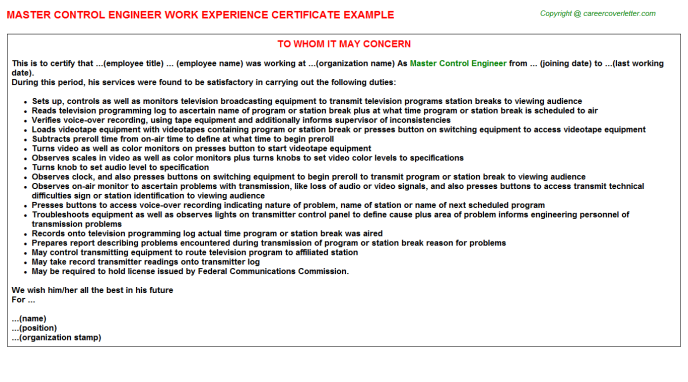 master control engineer experience letter template
