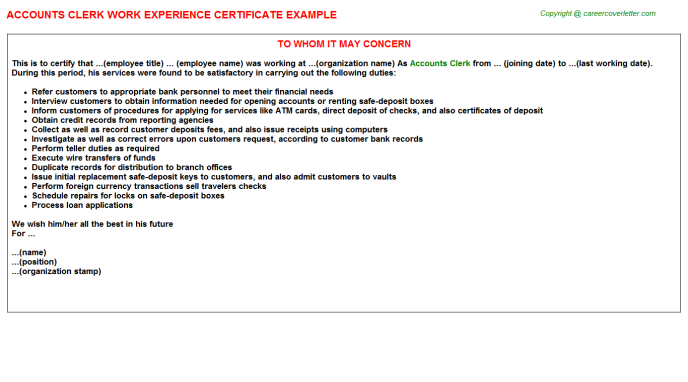 Accounts Clerk Work Experience Certificate Template