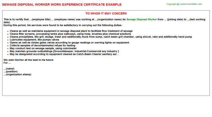 Sewage Disposal Worker Work Experience Letter