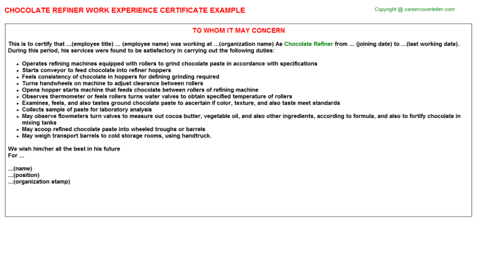 chocolate refiner experience letter template