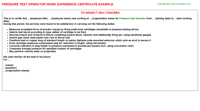 Pressure Test Operator Work Experience Letter