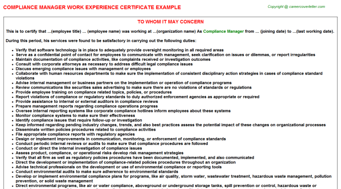 Compliance Manager Experience Letter Template