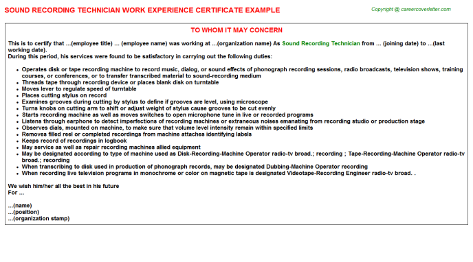 Sound Recording Technician Experience Letter Template