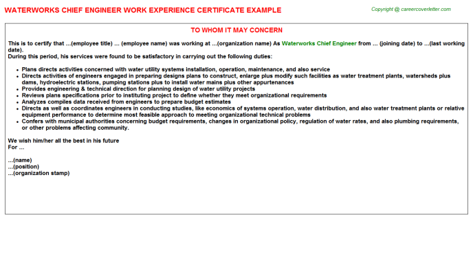 Waterworks Chief Engineer Experience Letter Template