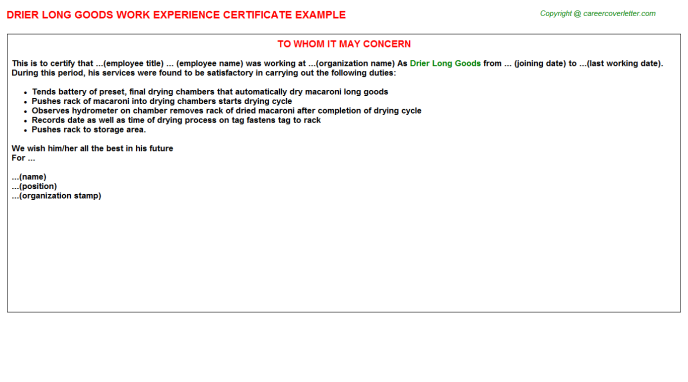 Drier Long Goods Experience Letter Template