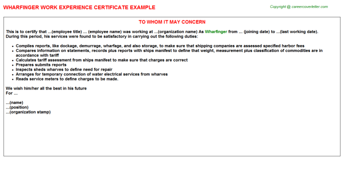 Wharfinger Work Experience Certificate Template