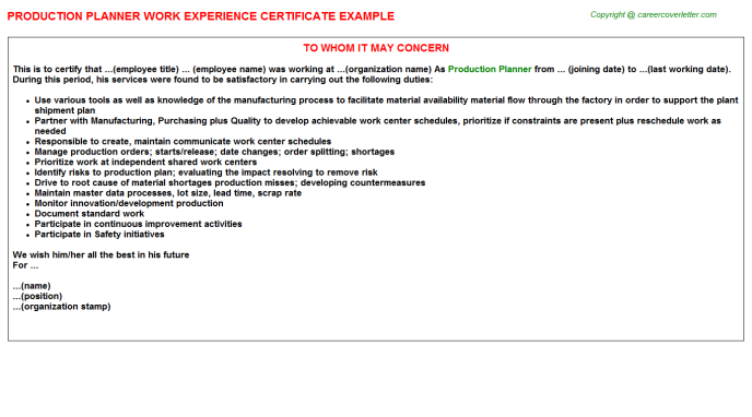 Production Planner Experience Letter Template