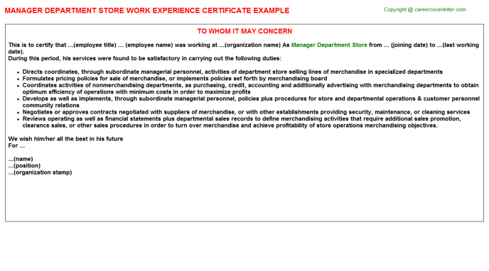 Manager Department Store Experience Letter Template