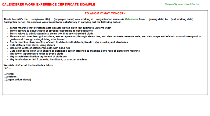 Calenderer Experience Letter Template