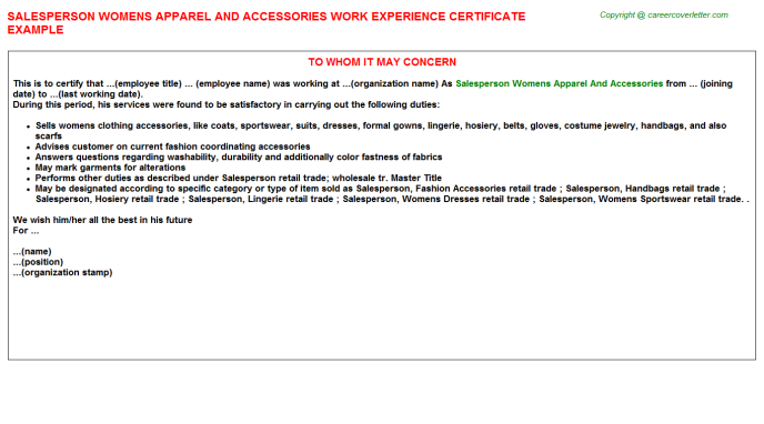 Salesperson Womens Apparel And Accessories Experience Letter Template