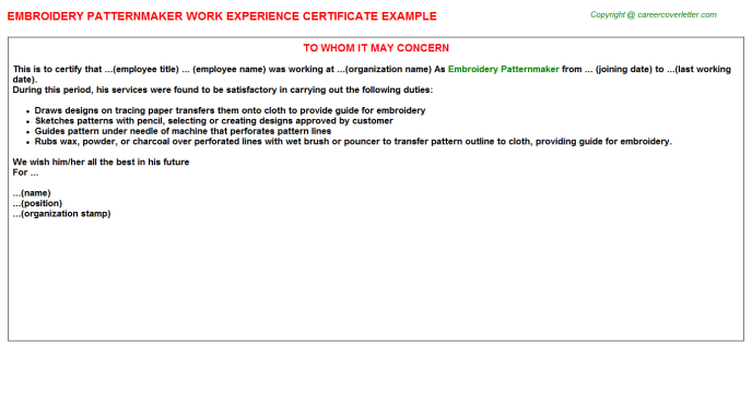 Embroidery Patternmaker Work Experience Letter