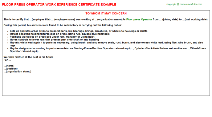 Floor Press Operator Experience Letter Template