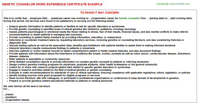 Genetic Counselor Work Experience Letter