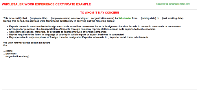 Wholesaler Experience Letter Template