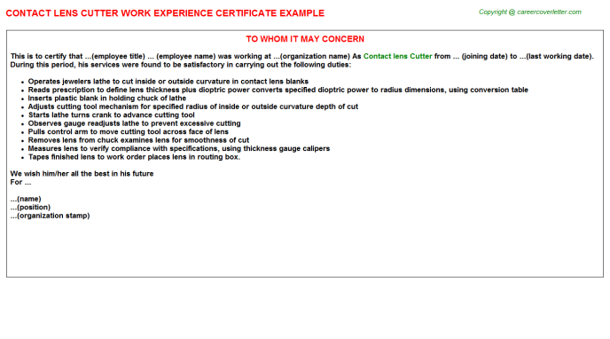 Contact lens Cutter Experience Letter Template