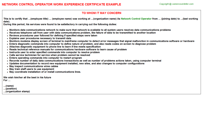 Network Control Operator Experience Letter Template