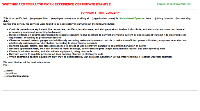 Switchboard Operator Experience Letter Template