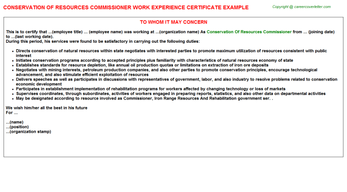 Conservation Of Resources Commissioner Experience Letter Template