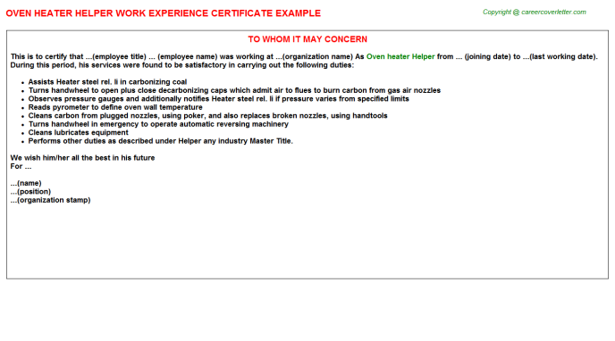 oven heater helper experience letter template