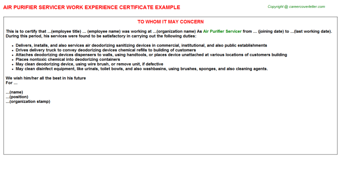 air purifier servicer experience letter template
