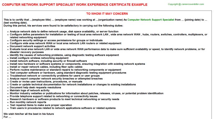 Computer Network Support Specialist Experience Letter Template