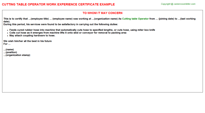 Cutting Table Operator Experience Letter Template