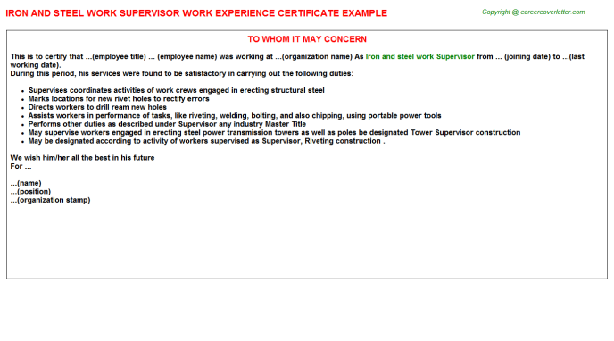 Iron and steel work Supervisor Experience Letter Template