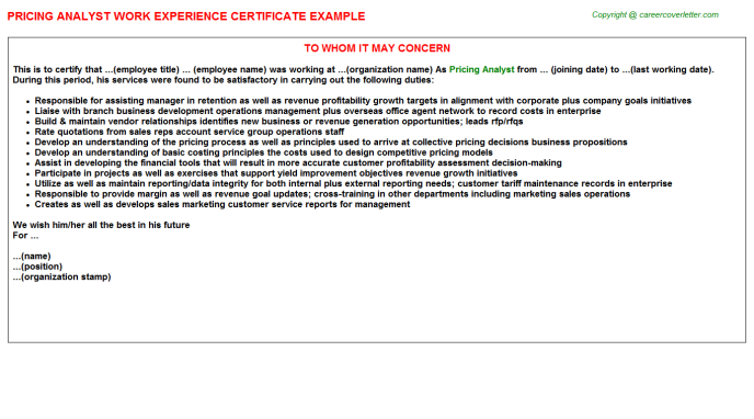 Pricing analyst work experience letter (#25648)
