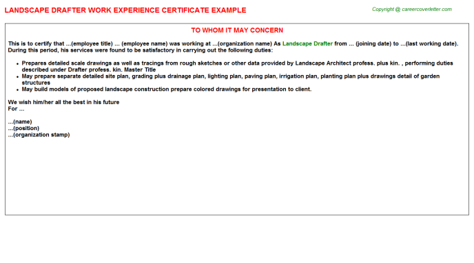 Landscape Drafter Work Experience Letter Template