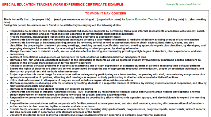 Special Education Teacher Experience Letter Template