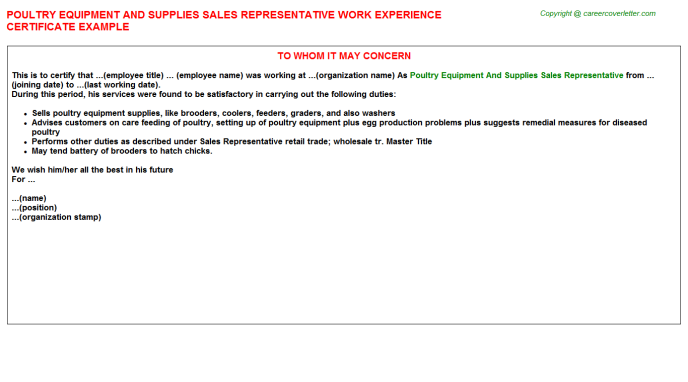 Poultry Equipment And Supplies Sales Representative Experience Letter Template