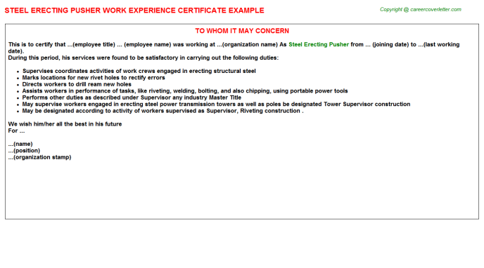 Steel erecting Pusher Experience Letter Template