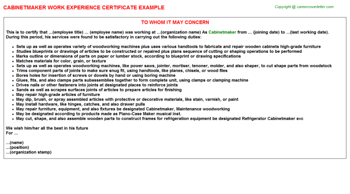 Cabinetmaker Experience Letter Template