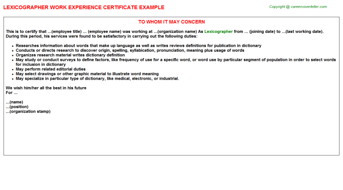 Lexicographer Experience Letter Template