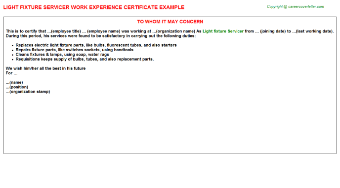 light fixture servicer experience letter template