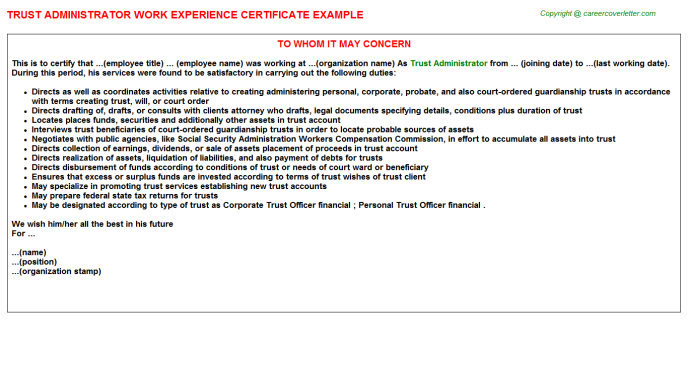 Trust Administrator Experience Letter Template
