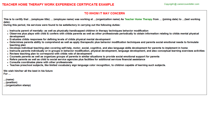 Teacher Home Therapy Experience Certificate Template