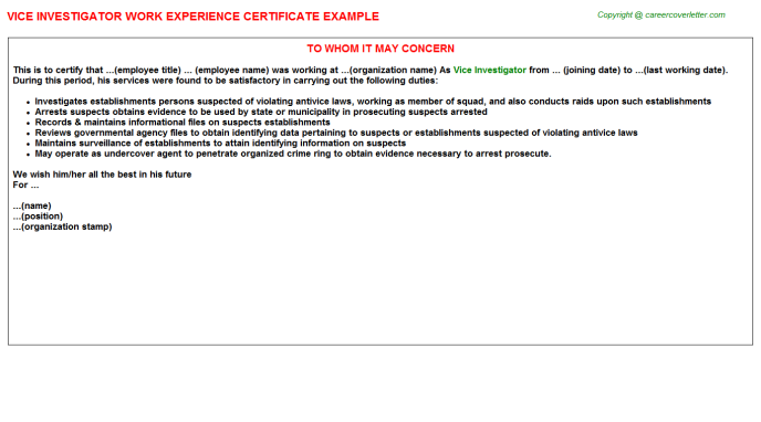 Vice Investigator Experience Letter Template